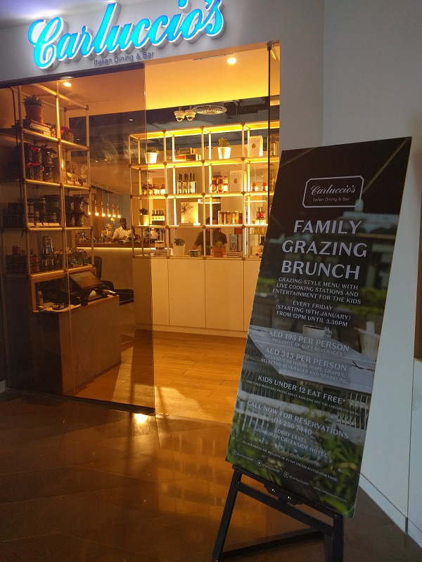 Carluccio's, Jumeirah Creekside Hotel, Brunch with kids, Dubai Mums, Friday brunch